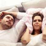 wife has no earplugs for snoring husband
